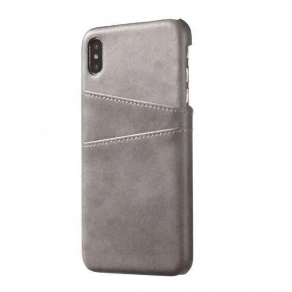 iPhone 8 Echtleder Tasche Cover Hülle mit Karten Etui - Grau / Grey