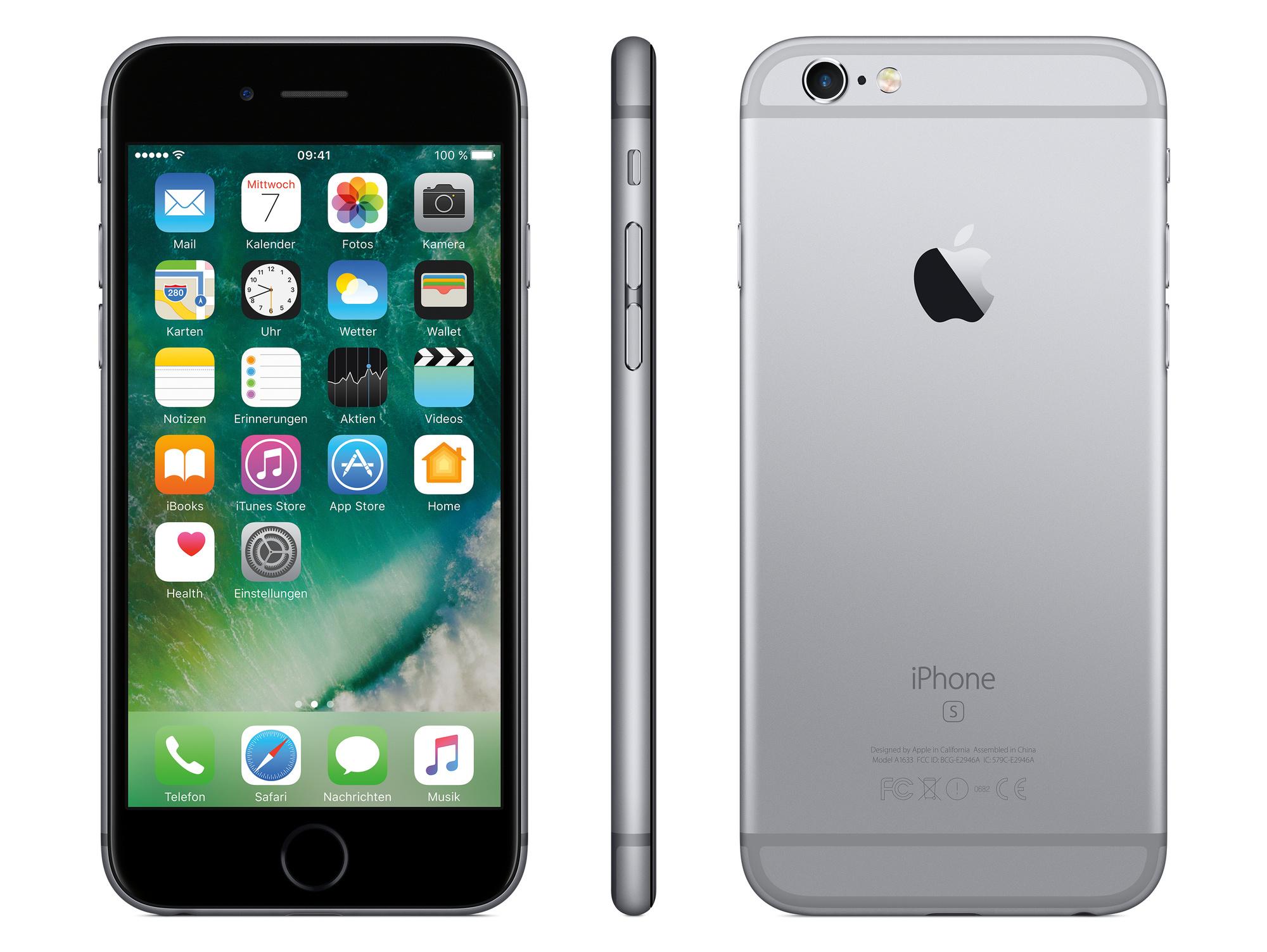 apple iphone 6s 128gb spacegrau schwarz ielectro. Black Bedroom Furniture Sets. Home Design Ideas