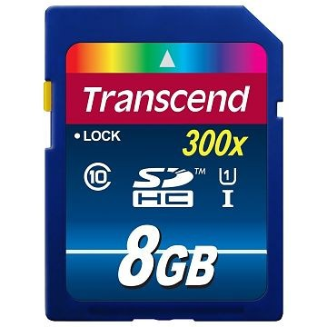 TRANSCEND SDHC Secure Digital Card Premium 300x, Class 10, UHS-I, 8.0GB (TS8GSDU1)