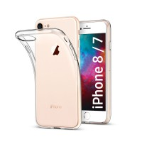 iPhone 8 Silikonhülle, Case Transparent / Weiss