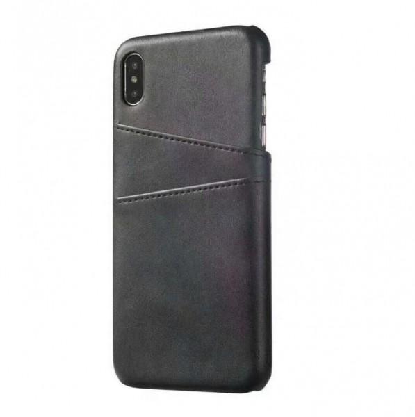 iPhone 8 Echtleder Tasche Cover Hülle mit Karten Etui - Schwarz / Black