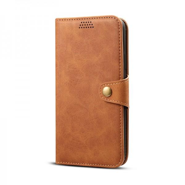iPhone 11 Echtleder Tasche Flip Cover Hülle mit Karten Etui - Braun