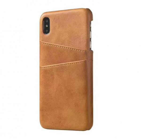 iPhone 8 Echtleder Tasche Cover Hülle mit Karten Etui - Hellbraun / light brown