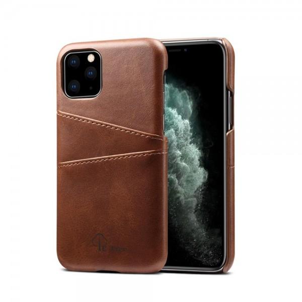 iPhone 11 Echtleder Tasche Cover Hülle mit Karten Etui - Dunkelbraun / dark brown