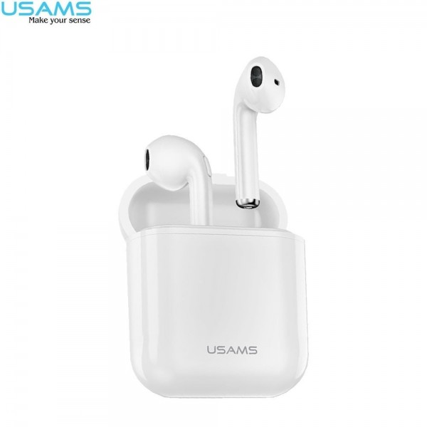 USAMS - Kabellose Mini Bluetooth 5.0 In-Ear Kopfhörer Headset + Lade Case (300mAh) - Weiss