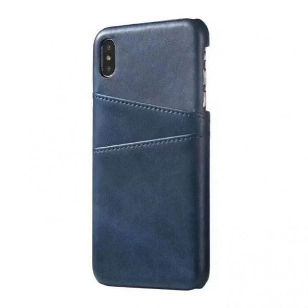 iPhone 11 Echtleder Tasche Cover Hülle mit Karten Etui - Blau / Blue