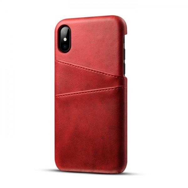 iPhone 8 Echtleder Tasche Cover Hülle mit Karten Etui - Rot / Red